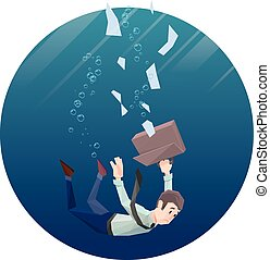 Man in office wear goes down under water Round frame -...