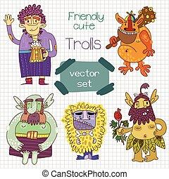 Friendly cute trolls set in vector.