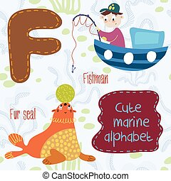 Sea very cute Alphabetmarine set in vectorF letterFishman,...