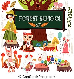 Vector Set of Cute Woodland and Forest Animals in School....