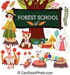 CÙte, farfalla, (all, set, scuola, spostare, lepre, topo,...