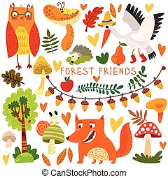 Vector Set of Cute Woodland and Forest Animals. Owl, fox, snail, crane,hedgehog, snail, worm.(All objects are isolated groups so you can move and separate them)