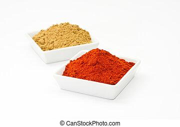 chili powder and coriander powder