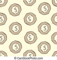 Seamless dollar in an octagon - Seamless texture with dollar...