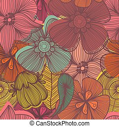 Cute floral seamless pattern in vintage colors.Bright Seamless pattern can be used for wallpaper, pattern fills, web page background,surface textures.
