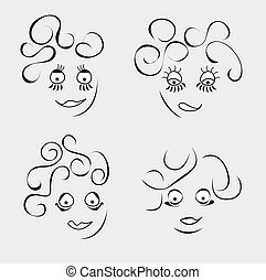 Cartoon fanny person. - Cartoon fanny face. Set of handdrawn...