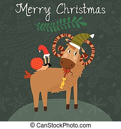 Merry Christmas card with cute goat and snail in vector....