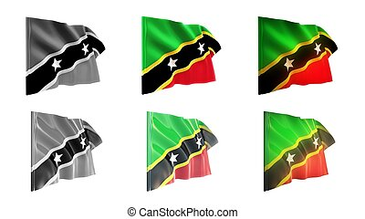 st kitts & nevis flags waving set 6 in 1 athwart styles