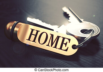 Home written on Golden Keyring. - Keys and Golden Keyring...