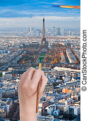 paintbrush paints in green colour Champ de Mars - travel...
