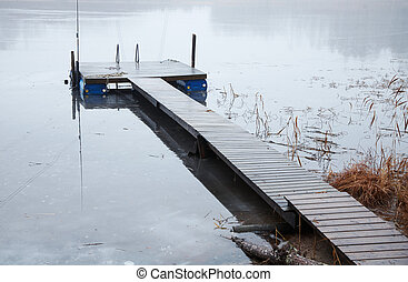 Boat launch on a frozen lake