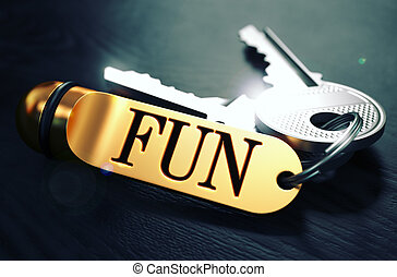 Fun written on Golden Keyring - Keys and Golden Keyring with...