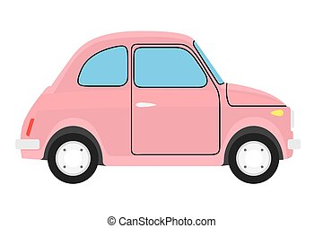 Yellow car.  - Pink Old car. Isolated on white background