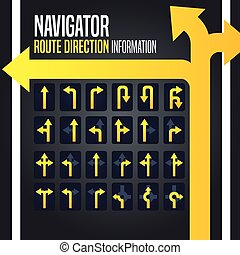 Navigator Route Direction Arrow - Vector illustration of...