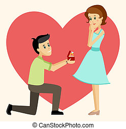 Man making a marriage proposal - Illustration of man is...