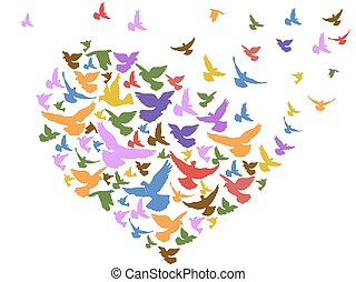 color birds flying with heart - isolated color birds flying...