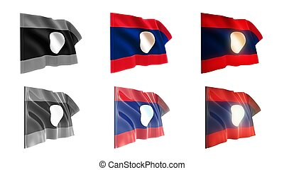 laos  flags waving set 6 in 1 athwart styles