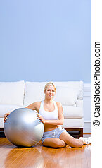 Young Woman with Exercise Ball