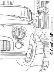 A sketch of the old cars