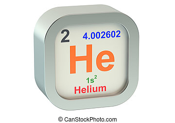 Helium element symbol isolated on white background