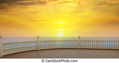 beautiful promenade and sunrise over the sea