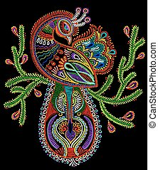ethnic folk art of peacock bird with flowering branch...