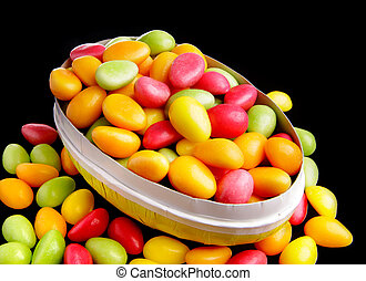 Easter eggs with Easter candy - An opened Easter eggs filled...