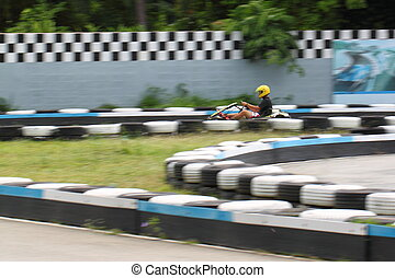 Karting race - go kart and safety barriers