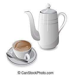 White cup of coffee and coffee pot