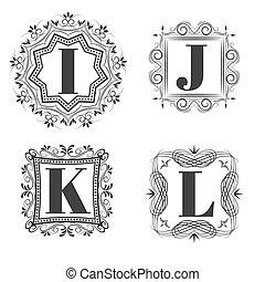 Set of classical logo or monogram design. Letters I, J, K,...