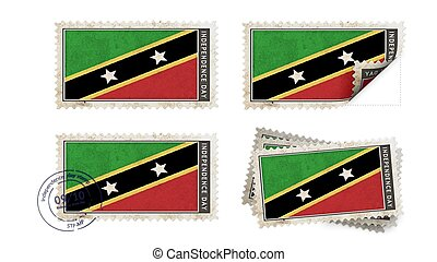 st kitts & nevis flag on stamp independence day set