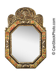 Antique oval mirror with tapestry frame isolated on white