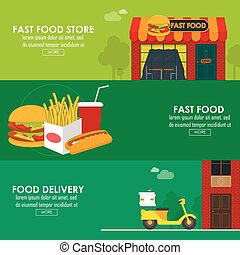 Food delivery horizontal banner set. vector illustration