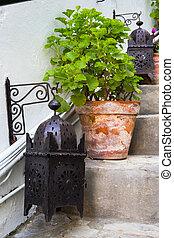 two lanterns a pot on a ladder
