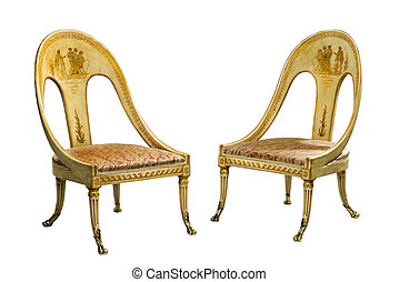 Pair antique vintage painted Egyptian style chairs isolated...