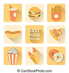 vector icon set fast food. flat design