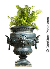 large painted blue iron garden urn with fern plant