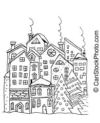 Winter town. Doodle houses with smoking chimneys and...