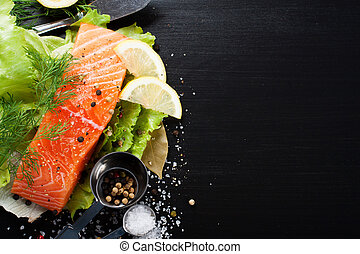 Delicious salmon fillet, rich in omega 3 oil, aromatic...