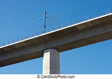 Viaduct - view of a high-speed viaduct in Zaragoza Province,...