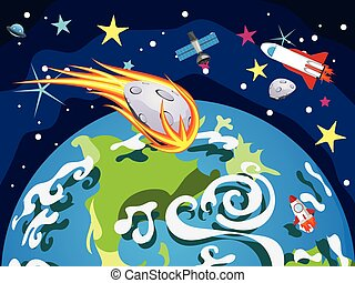Earth Planet - Cartoon planet Earth in open space with...