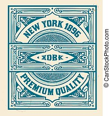 Retro stamp design Organized by layers
