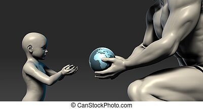 Old Man Giving Earth to a Child