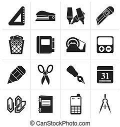 Business and office objects icons - Black Business and...
