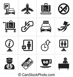 Airport and transportation icons - Black Airport and...