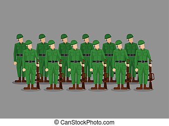 Soldiers Standing at Attention Vector Illustration - Platoon...