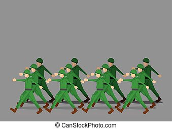 Soldiers Marching in Military Parade - Soldiers in green...