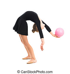 little gymnast doing exercise with ball isolated on white...