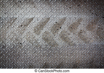 Dirty metal pattern and tyre tracks - Dirty metal pattern...