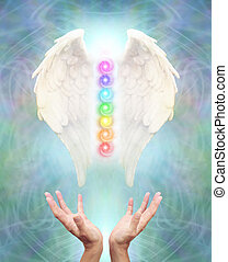 Sacred Angel Chakra Healing - White Angel wings with seven...